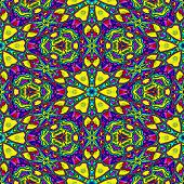 image of kaleidoscope  - Seamless floral colorful kaleidoscope pattern or background - JPG