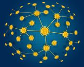 foto of bitcoin  - Global Bitcoin Network with bitcoin currency symbol - JPG