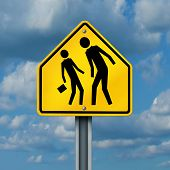 image of school bullying  - School bullying concept as a yellow traffic sign with an abusive bully attacking or harassing a smaller defenseless student as a symbol of the anxiety of being bullied and the social issues of childhood fear - JPG