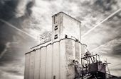 Tilt shift photo of old obsolete flour grain silo, Mesa, Arizona,USA
