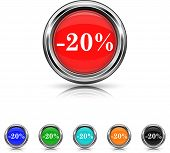 20 Percent Discount Icon - Six Colors Vector Set