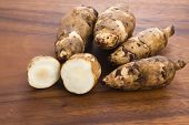 stock photo of jerusalem artichokes  - Jerusalem artichoke, topinambur, tuberosus, root vegetable, food