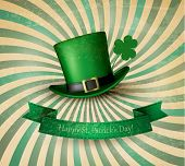 Saint Patrick's Day card with clove leaf and green hat. Vector illustration.
