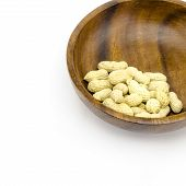 picture of groundnut  - food bean roasted groundnuts on wood texture background - JPG