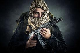 stock photo of terrorist  - Terrorist with AK - JPG