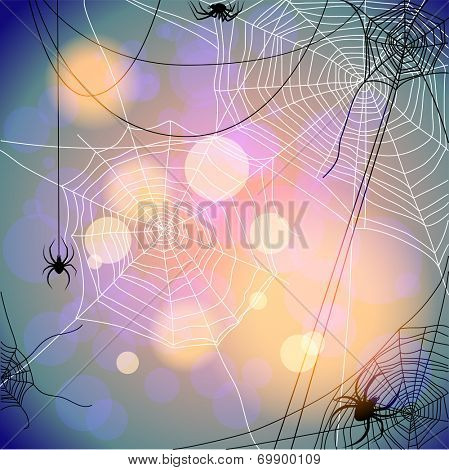 Holiday background with spiders and web. Seasonal illustration. Raster version.