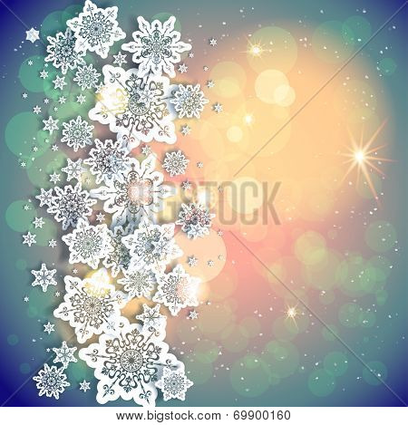 Holiday background and snowflakes and lights. Copy space. Raster version.
