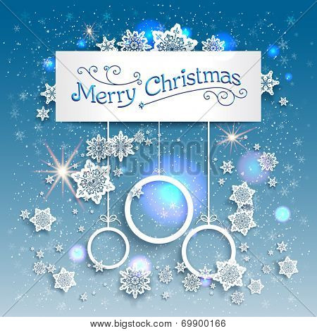 Blue Christmas background with beautiful snowflakes. Copy space. Raster version.