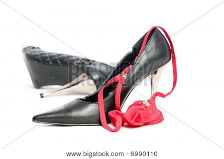Erotic Hig Heels In Black With A Red String Tanga