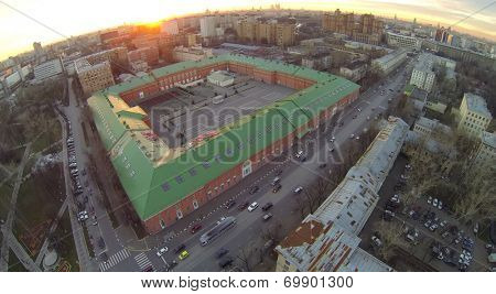 Barracks of military camp Lefortovo at sunset, aerial view