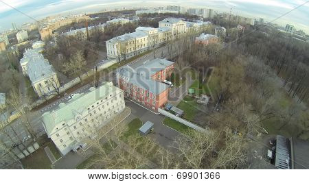 Urban landscape with widows houses and Chief Military Clinical Hospital named after Nikolai Burdenko in autumn, aerial view
