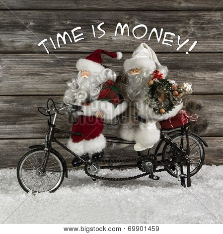 Time Is Money -  Santa Claus Team In Hurry For Buying Christmas Presents. Funny Photo In Vintage Sty