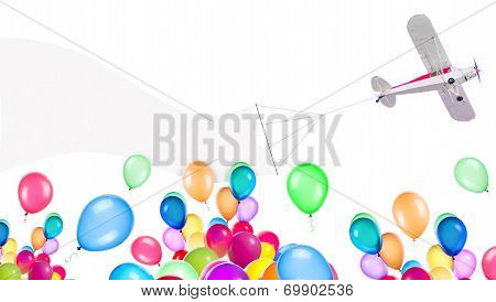 Single engine plane with banner and balloons