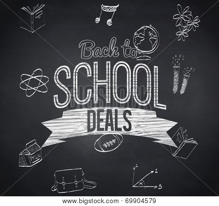 Composite image of back to school deals message against blackboard
