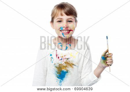 Cheerful Little Messy Girl Painter