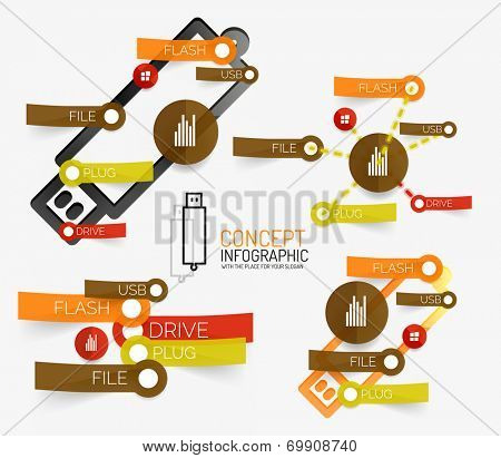 Vector usb flash infographic with keywords on stickers and schemes
