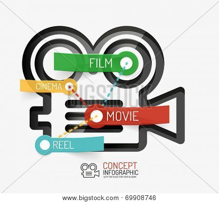 Cinema and movie infographic concept, line style. Modern flat paper design with tags or your options on transparent stickers
