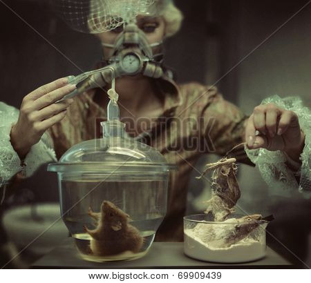 Old fashioned woman in laboratory