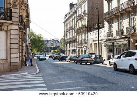 Street Rue De Strasbourg In Nantes, France