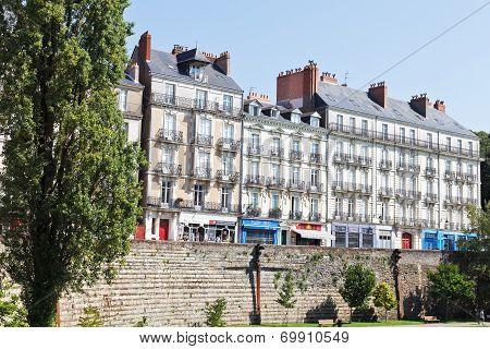 Street Rue Des Etats Near Castle In Nantes