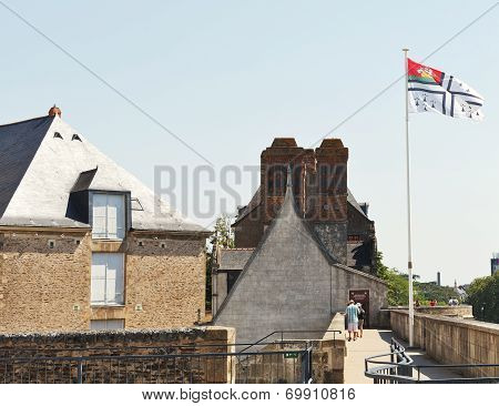 Flag Of Nantes Over Castle Of Dukes Of Brittany