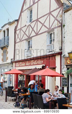 Street Rue De La Marine In Le Croisic Town, France