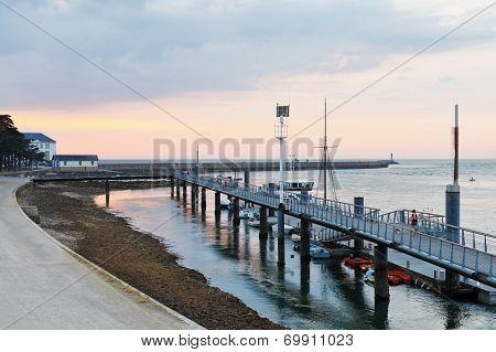 Sundown Over Urban Port In Le Croisic Town, France