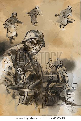 Soldier In Mask - An Hand Drawn Vector
