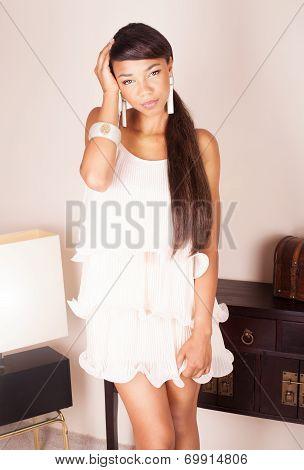 Elegant Dark Skinned Woman Posing