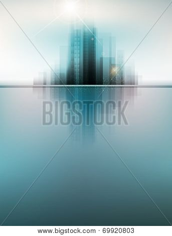 banner for business with the city and reflection