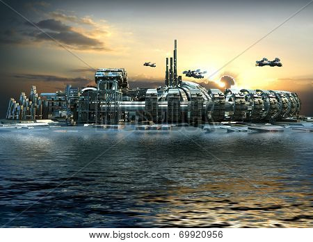 Futuristic city with marina and hoovering aircrafts