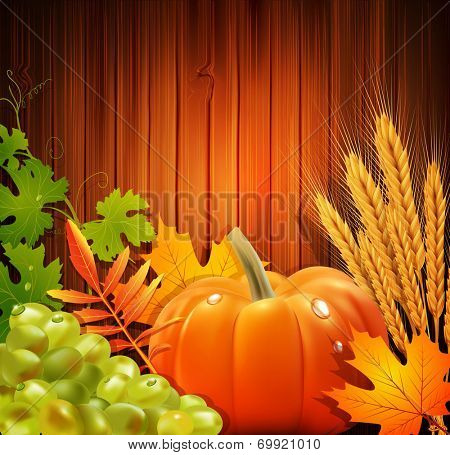 background for Thanksgiving Day with apples, ears of wheat, grapes, apple
