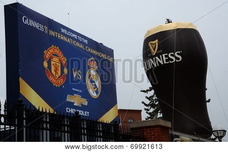Guiness Balloon And Champions Cup Sign In Ann Arbor