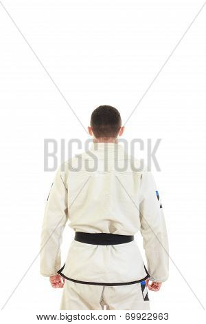 Kickbox Fighter Wearing Kimono With Black Belt In Back View