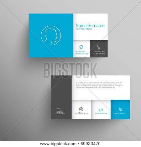 Modern blue simple business card template with flat mobile user interface