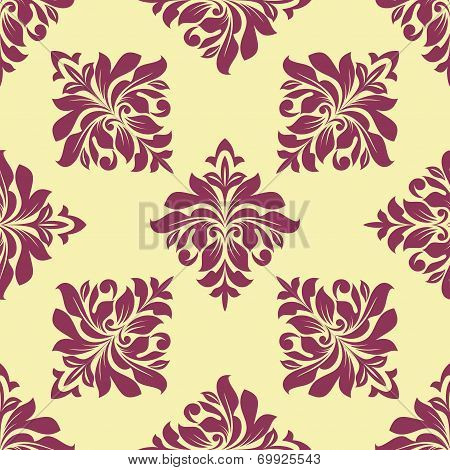 Crimson floral seamless pattern