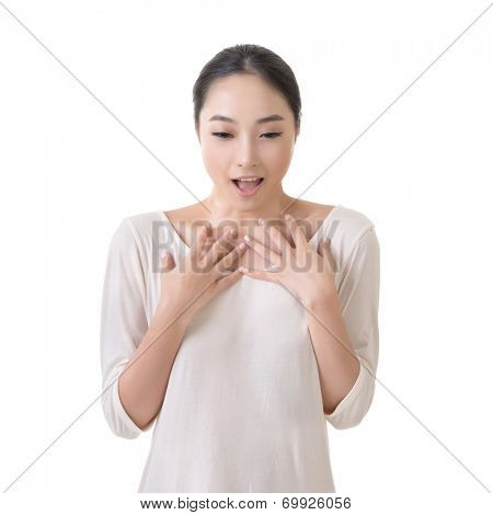 Asian woman with surprised face, closeup portrait on white background.