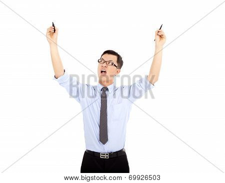 Busy  Businessman Holding Pens To Work . Isolated On White