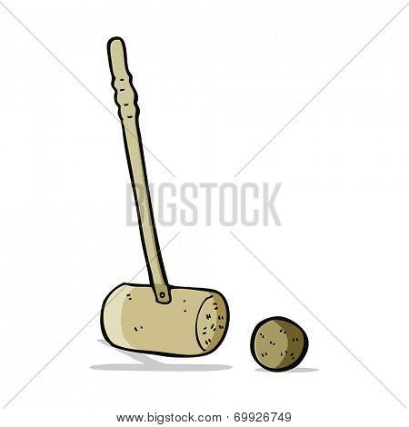 carton croquet mallet and ball