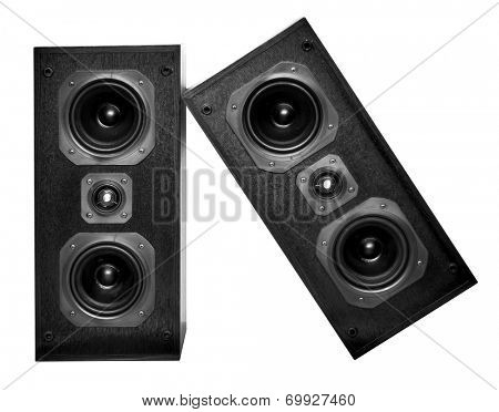 The black hi-fi sound speakers on white