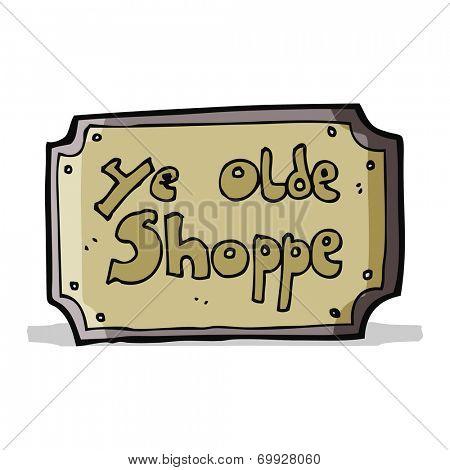 cartoon old fake shop sign