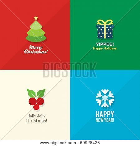 Christmas and New Year icons in flat design