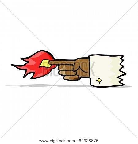 cartoon pointing finger with flame