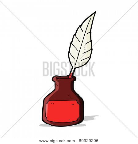 cartoon red ink pot and quill
