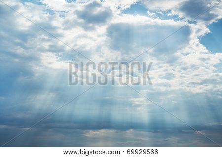 Blue Bright Sky Background With Clouds