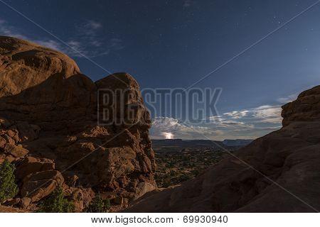 Salt Valley In Background Lightning Strike
