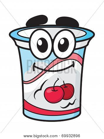 Cherry yoghurt, milk or cream cartoon character