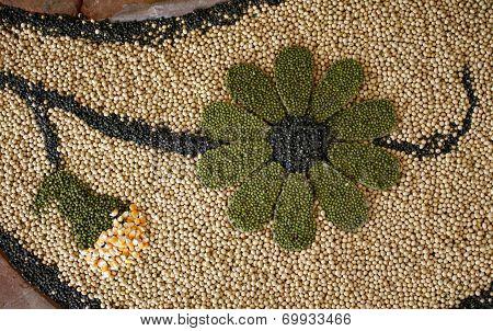 Multi Grain, Corn, Seed On Flower Shape