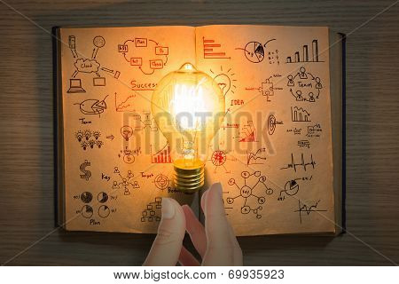 vintage book of business graph and light bulb on wood table