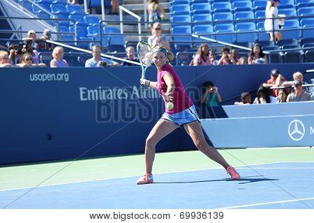 Two times Grand Slam champion Victoria Azarenka practices for US Open 2013 at Arthur Ashe Stadium